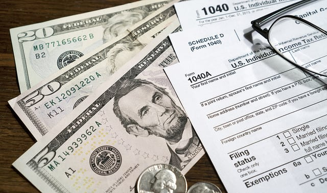 cash money and tax documents