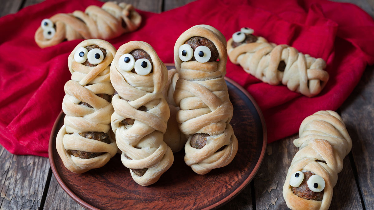 Scary food meatballs wrapped
